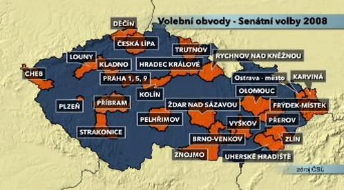 Volební obvody - senátní volby 2008