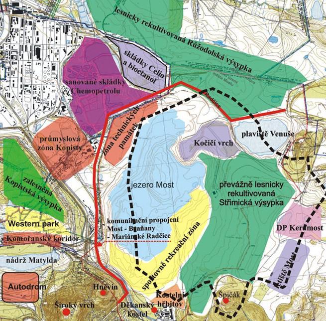 Plán oblasti kolem jezera Most