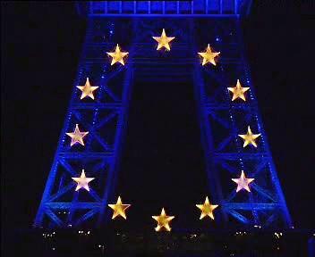 Eiffelova věž při francouzském předsednictví EU