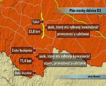 Úsek plánované dálnice D3