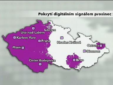 Pokrytí digitálním signálem prosinec 2008