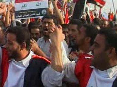 Demonstrace šíitů v Bagdádu
