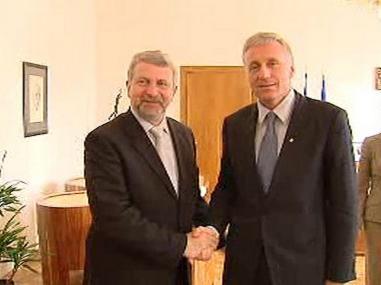 Aljaksander Milinkevič a Mirek Topolánek