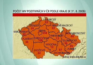 Počet HIV pozitivních v ČR podle kraje