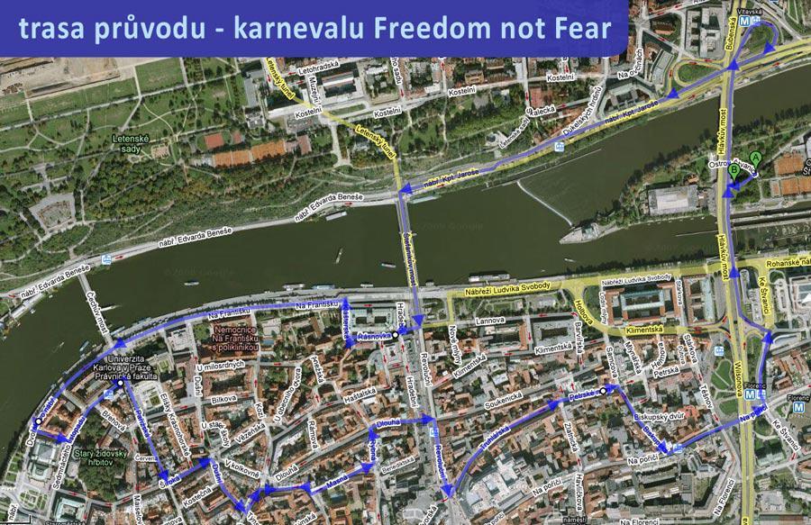 Mapa průvodu Freedom not Fear