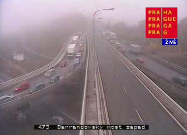 Dopravní situace na Barrandovském mostě