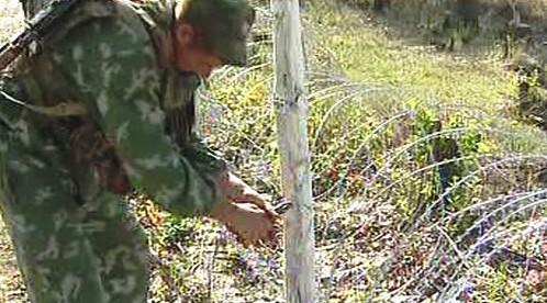 Stříhání drátů na hranici Jižní Osetie