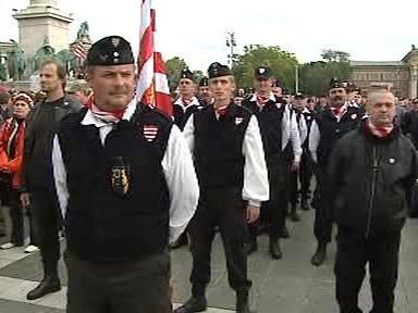 Demonstrace pravicových radikálů v Budapešti