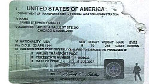 Nalezený pilotní průkaz Steva Fossetta