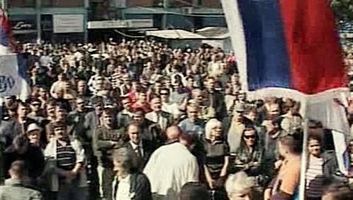 Protest kosovských Srbů proti misi EU
