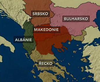 Balkán (červeně historické území Makedonie)