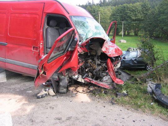 Dodávka po nehodě