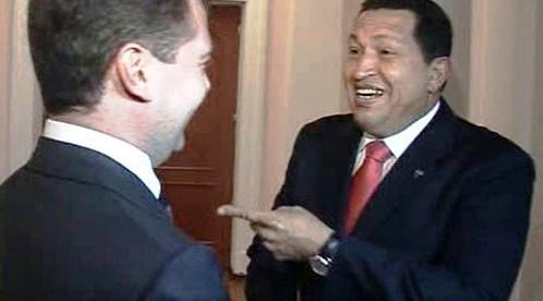 Dmitrij Medveděv a Hugo Chávez