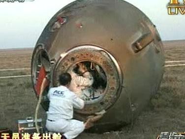Čínská vesmírná loď po přistání
