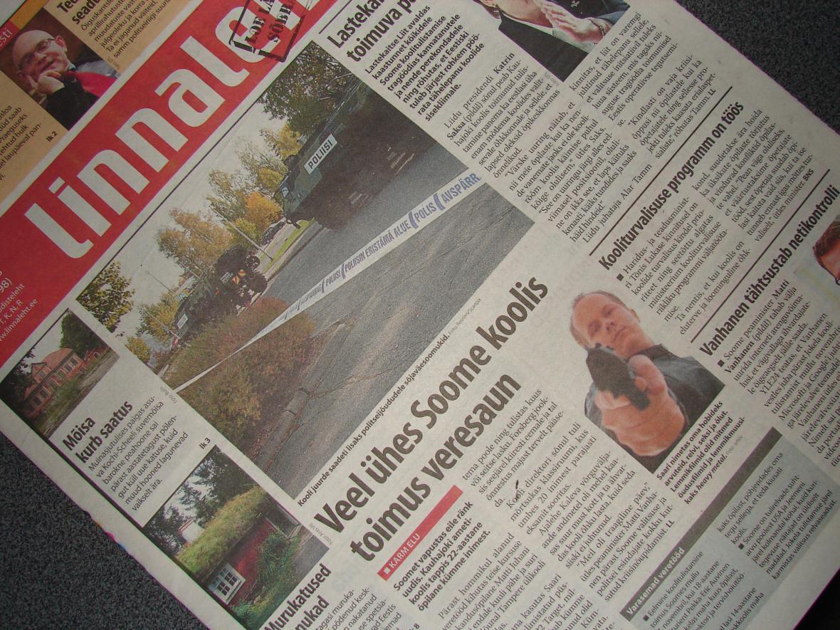 Střelba ve finské škole ovládla první stránky novin