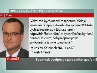 Ministr financí o stavebním spoření