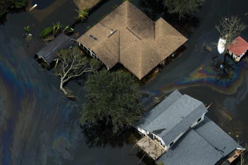Zaplavené domy na jihu USA