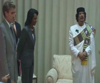 Condoleezza Riceová a Muammar Kaddáfí
