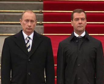 Ruský premiér Vladimir Putin a prezident Dmitrij Medveděv