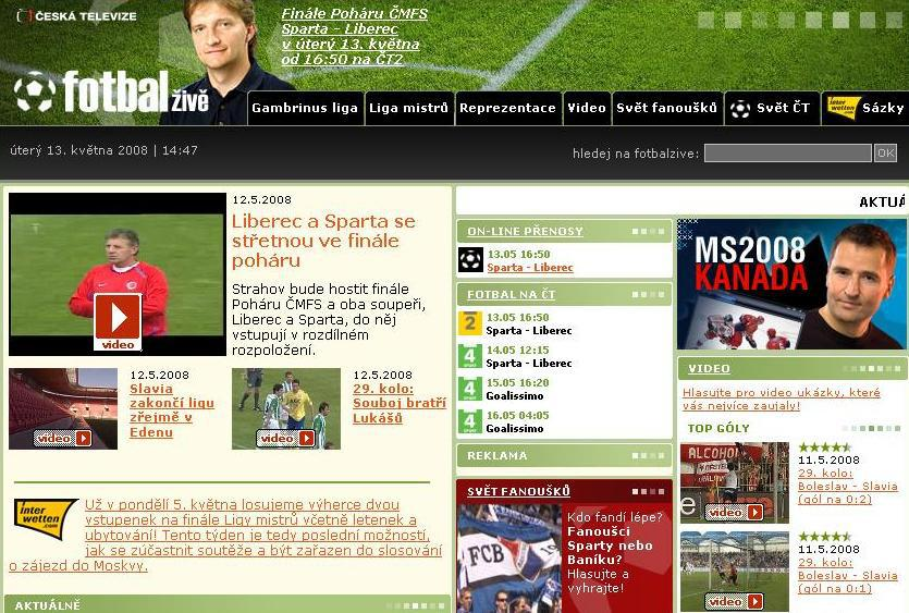 Internetové stránky Fotbal živě