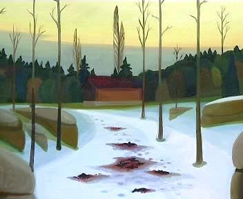 Zimní krajina se skvrnami krve
