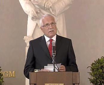 Václav Klaus při slavnostním projevu