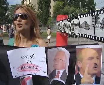 Protest při Klausově návštěvě v Bratislavě
