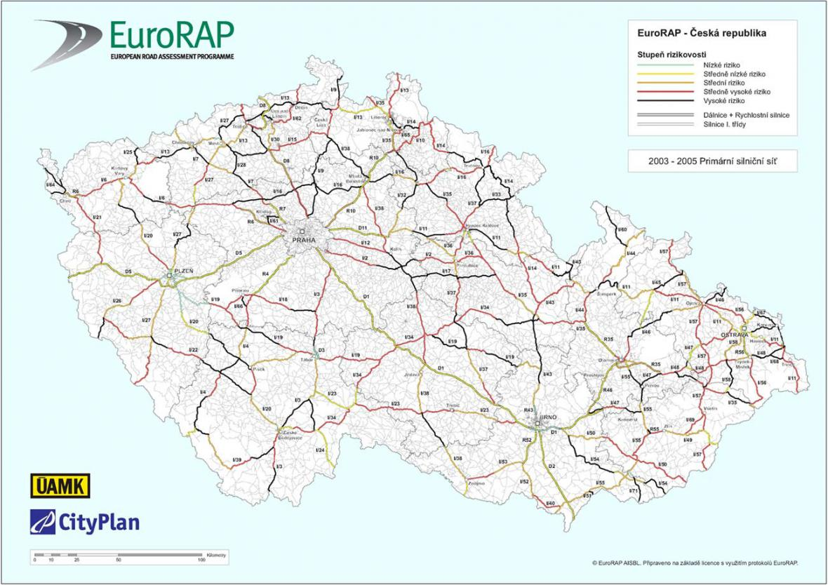 Mapa rizikovosti českých silnic