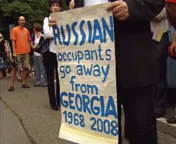 Protestující Gruzínci