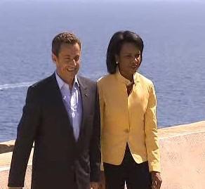Nicolas Sarkozy a Condoleezza Riceová