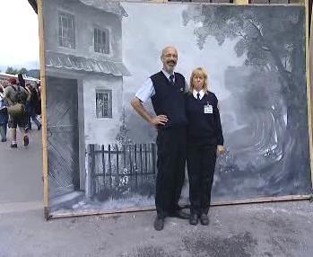 Pořizování snímků před Seidlovým plátnem