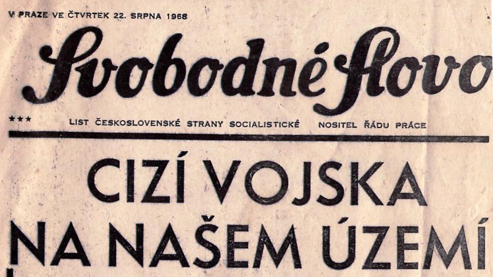 Titulní strana novin krátce po invazi