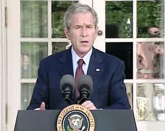 """<b>Bush:</b> \""""Rusko vpadlo do sousedního suverénního státu a ohrožuje demokratickou vládu. To je v 21. století nepřípus"""