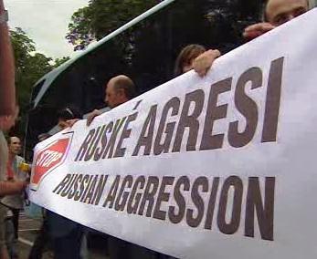 Gruzínci demonstrují v Praze