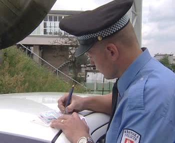 Strážník při udělování pokut