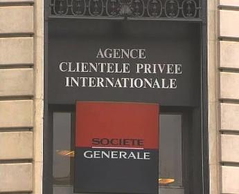 Logo nad vchodem do francouzské banky Société Générale, matky Komerční banky