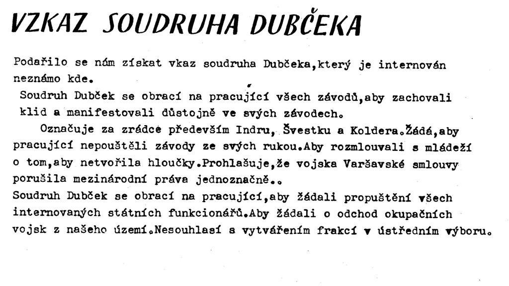 Vzkaz internovaného Dubčeka