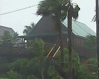 Přímořský dům během hurikánu