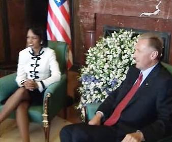 Condoleezza Riceová a Mirek Topolánek