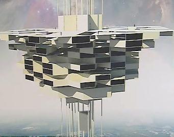 Schéma futuristické budovy