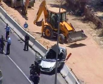 Buldozer, který najel do izraelského autobusu