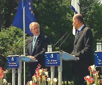 Bush a Janša na summitu v Brdu