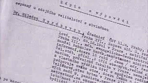 Zápis výpovědi s Miladou Horákovou