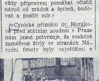Novinový článek k procesu s Miladou Horákovou