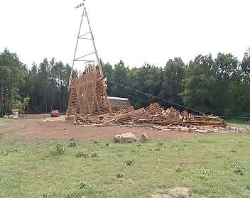 Zničená rozhledna Bára