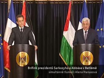 Společný brífink Sarkozyho a Abbáse