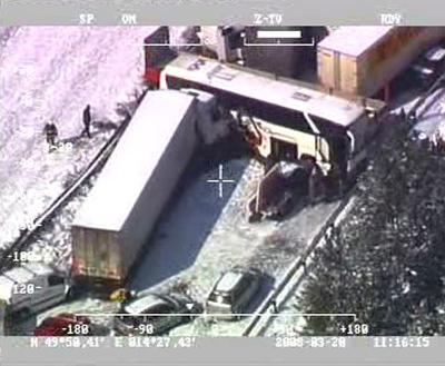 Letecké záběry nehody na D1