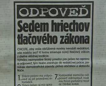 Text protestu slovenských novinářů