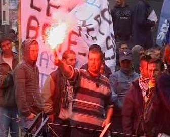 Demonstrující v Bruselu