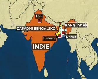 Mapka Indie a Bangladéše